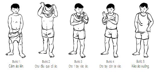 dạy trẻ mặc áo - một trong các hoạt động trị liệu cho trẻ chậm phát triển