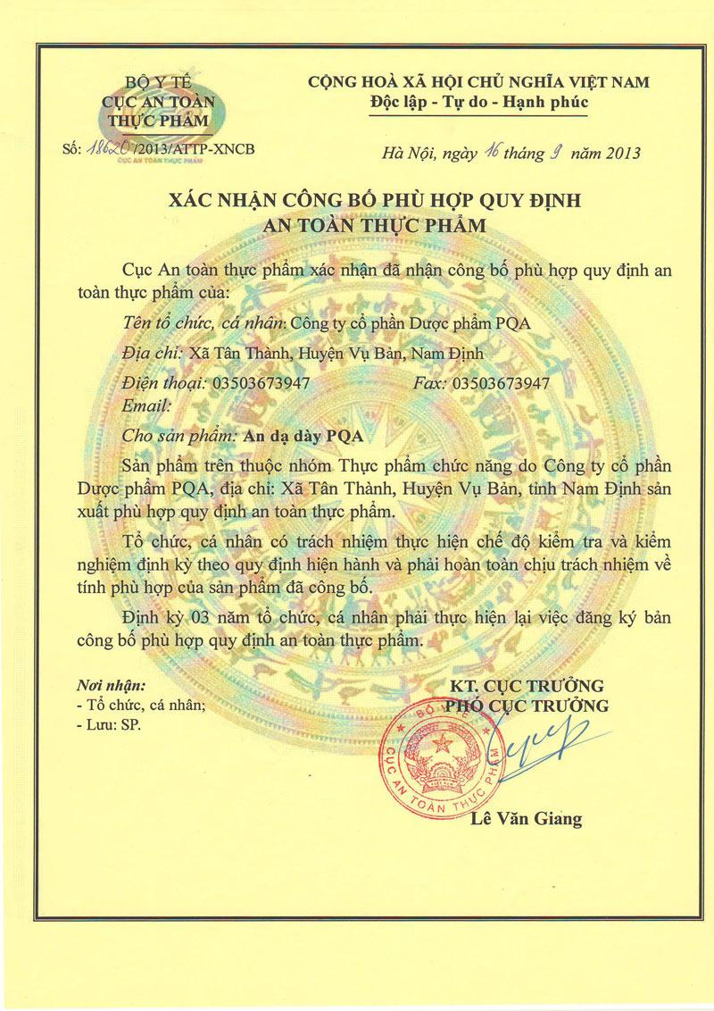 giấy chứng nhận an dạ dày pqa